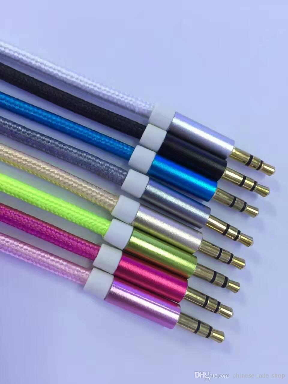 Pure kleur aluminium metalen adapter nylon gevlochten koord 3.5mm stereo audio aux kabel 1m 3ft od3.8mm 100pcs / lot