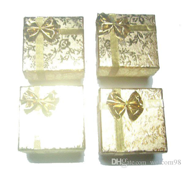24pcs/lot Gold Ring Earring Jewelry Boxes For Craft Gift Packaging Display 5x5x3cm BX5