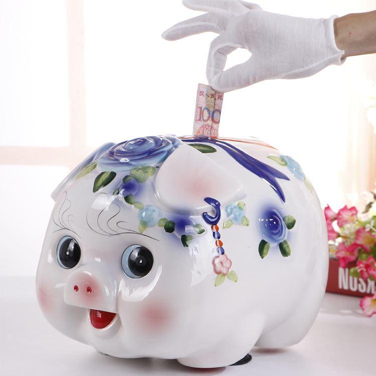 Porcellino salvadanaio in ceramica maiale piccolo salvadanaio salvadanaio creativo desiderio felice di fare soldi regalo regalo di compleanno sacchetto di posta