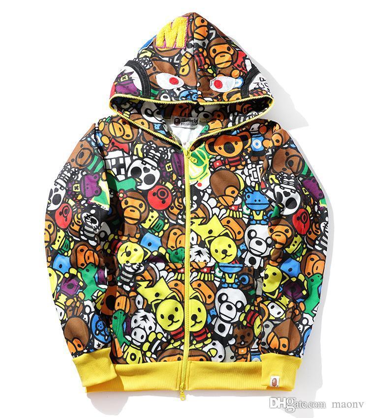 가을 겨울 신사 조수 브랜드 원숭이 만화 인쇄 스웨터 까마귀 남성 여성 캐주얼 후드 자켓