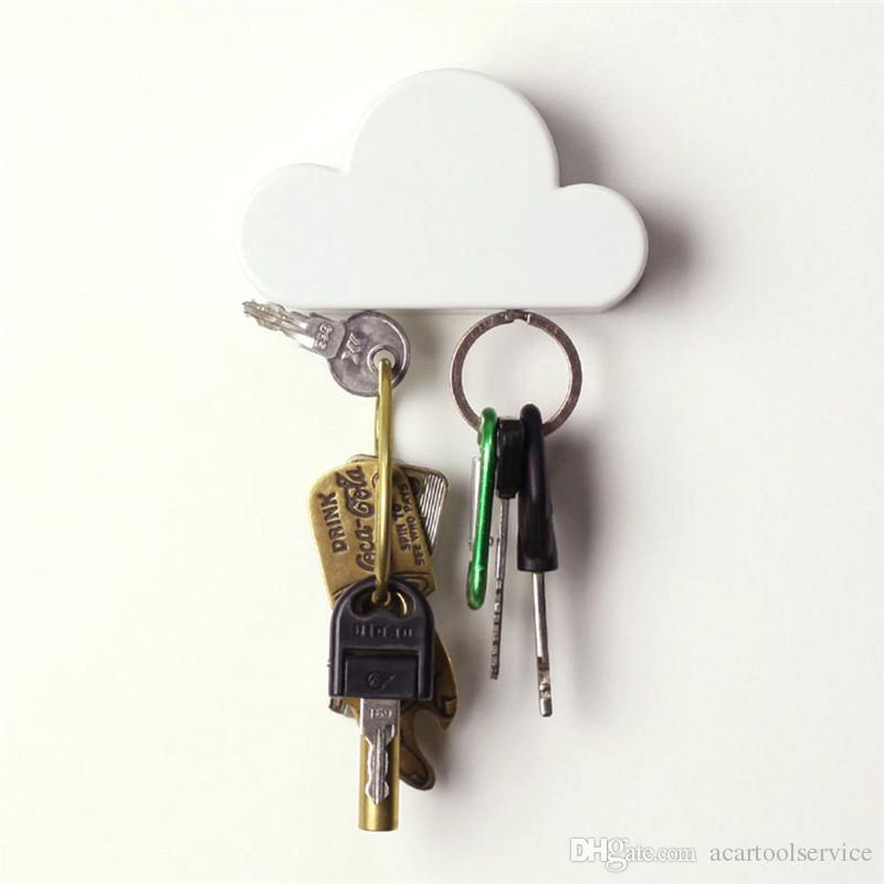 مفتاح مربع تخزين المنزل الإبداعية حامل سحابة بيضاء الشكل المغناطيس مفتاح حامل