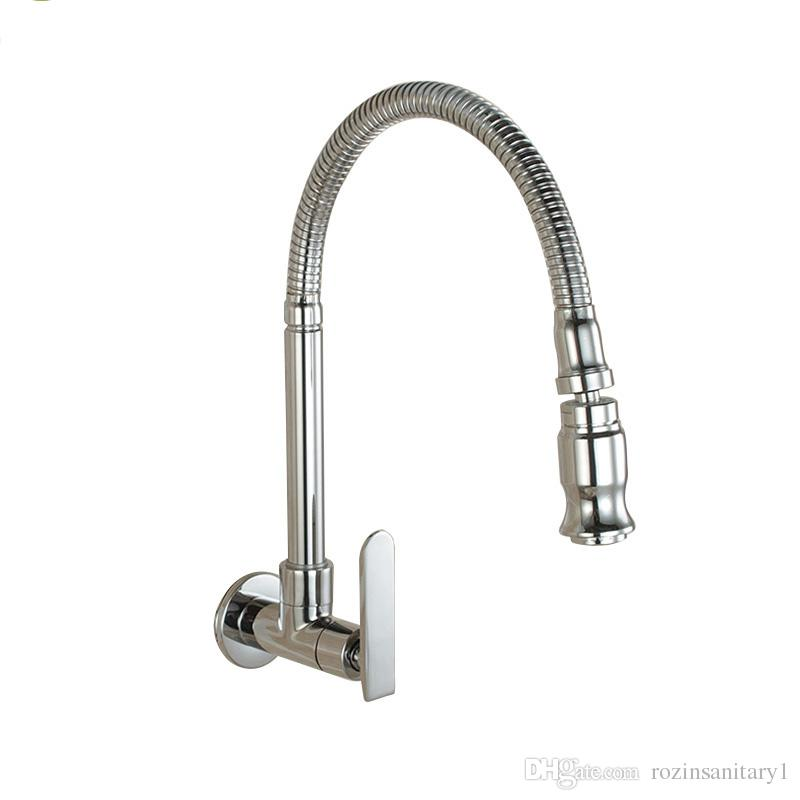 2019 Wall Mounted Sprayer Kitchen Faucet Cold Water Faucet Single Handle  Chrome Flexible Hose Kitchen Mixer Taps Single Holes From Rozinsanitary1,  ...