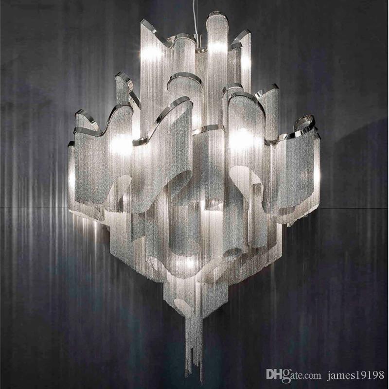 Lusso Ombra nappa lampada a sospensione moderna in alluminio catena appesa luce a soffitto per Dinning Room Living Room Bar Home Decor PA0019