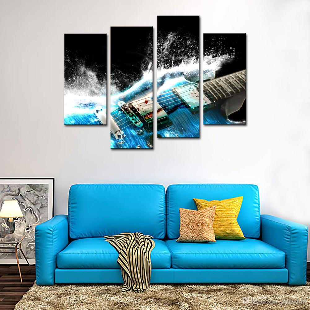 4 Panles Canvas Wall Art Musical Instruments Picture Prints Guitar Painting Modern Giclee Artworks For Home Decoration with Wooden Framed