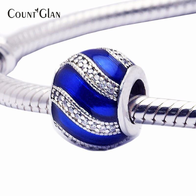 Рождественские украшения синий Шарм бисер Fit Pandora подвески серебро 925 оригинальный браслет мода DIY ювелирных изделий новый зимний стиль