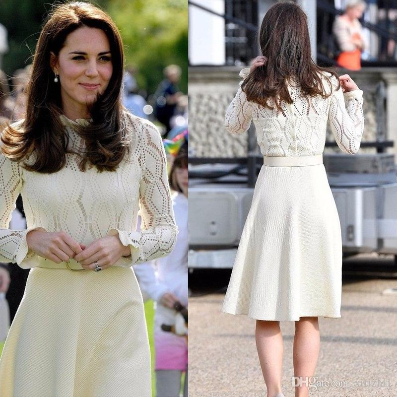 Good Quality Lace Dress White Princess Kate Middleton Same Sexy 2017 New Slim Hollow Out Yarn High End Long Sleeves A-line Dress