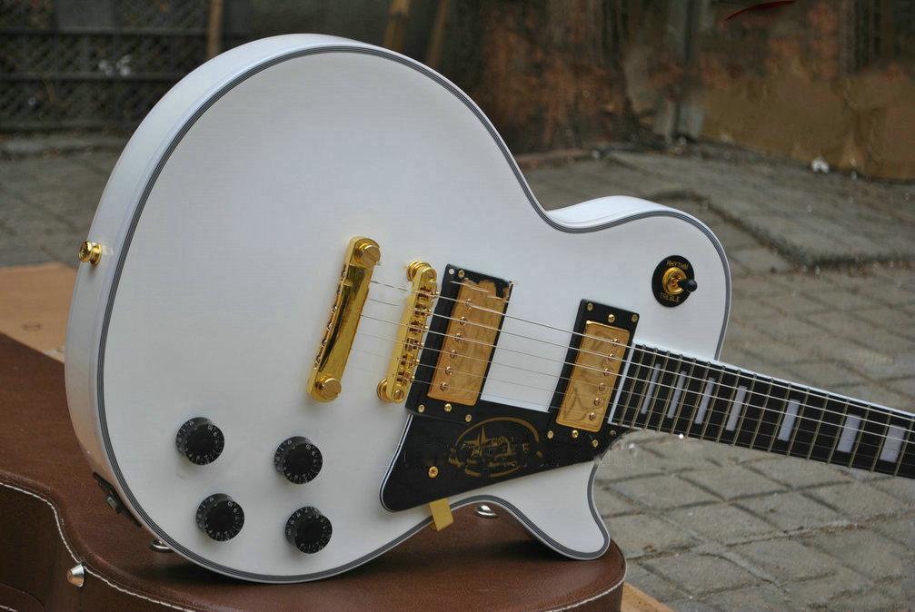 مخصص متجر ديلوكس أفلاين الأبيض الغيتار الكهربائي الأبنوس الأصابع الحنق ملزمة، الذهب الأجهزة