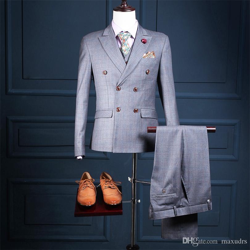 2017 새로운 디자인 웨딩 슈트 더블 브레스트 비즈니스 정장 신랑 턱시도 Groomsman 정장 맞춤 제작 남자 양복 (재킷 + 바지 + 조끼)