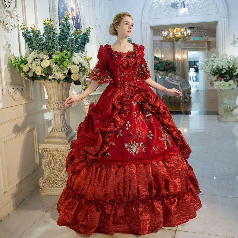 2021 Royal Red Floral Print Mittelalterliche viktorianische Parteikleider Marie Antoinette Maskerade Ballkleider für Frauen