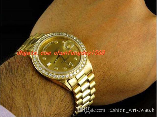 럭셔리 손목 시계 18K 남성 옐로우 골드 41mm 다이아몬드 시계 자동 기계 운동 망 시계 망 시계 최고 품질