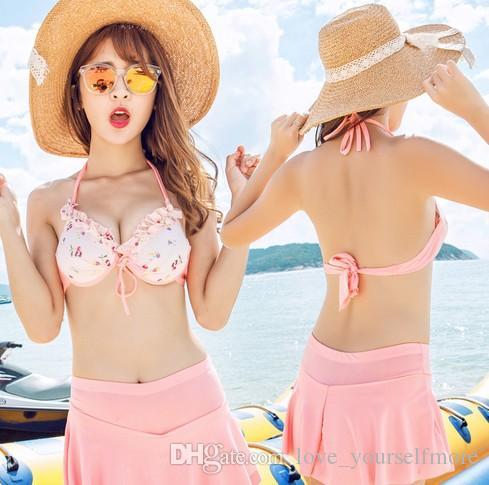 Sumer Kleid Sexy Strand Bademode Kleine Brust Sammeln Stahl Unterstützung Drei Stück Anzughose Hot Bikinis Badeanzüge