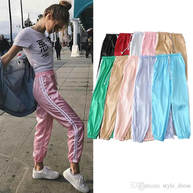 how to orders temperament shoes super cute 2019 Sweatpants Women Sport Pants Joggers Casual Harlan Yoga Gym Side  Striped Drawstring High Waist Lady Femme Trousers From Style_dress, $15.08  | ...