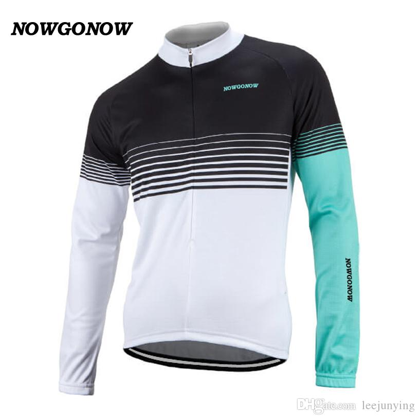 Wholesale custom top 2017 cycling jersey long sleeve black Light blue white Retro team clothing bike wear mtb road maillot ciclismo NOWGONOW