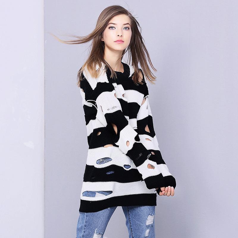 2017, Kış ve Yeni Ürünler, Sonbahar kadın Kazak, Moda Siyah ve Beyaz Şerit Kırık, Gevşek Ceket kadın Örme 309040