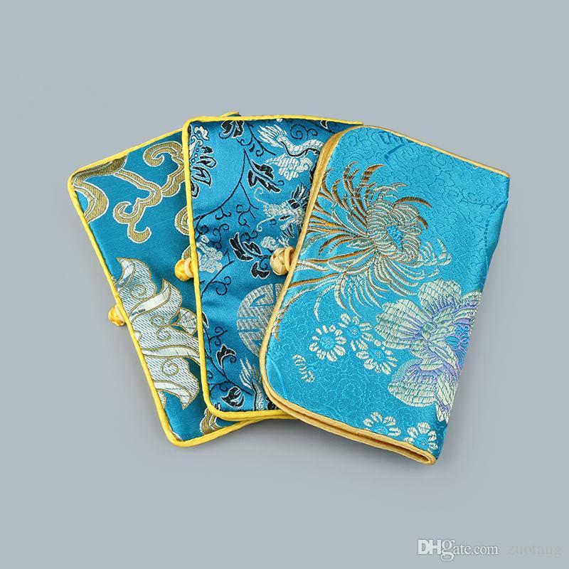 럭셔리 꽃 휴대용 접이식 보석 롤 여행 저장 가방 중국 스타일 실크 브로코드 2 지퍼 포장 주머니