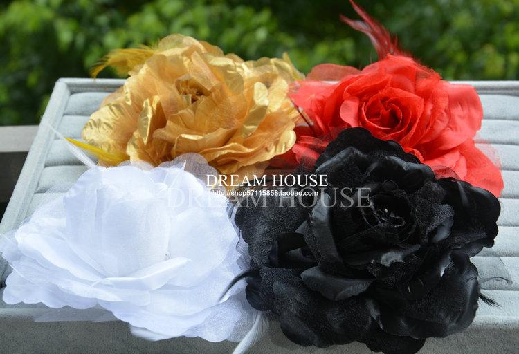 Woman headdress hair Korean white black red golden feather headdress and bride big flower hairpin Brooch flower jewelry