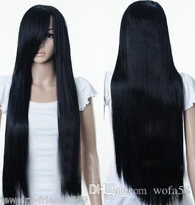 Бесплатный ShippingNew Косплей Длинный Прямой Черный Теплый парик
