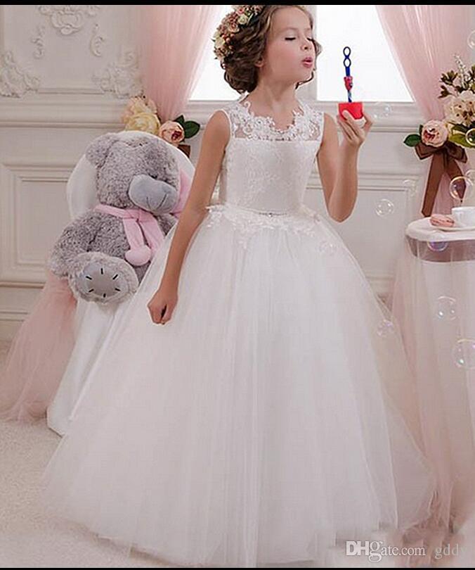 Encaje Vestidos de niña de flores árabes Tripulación Sash Vestido de bola Vestidos de niña de tul Vestidos de novia hermosos de flores de niña