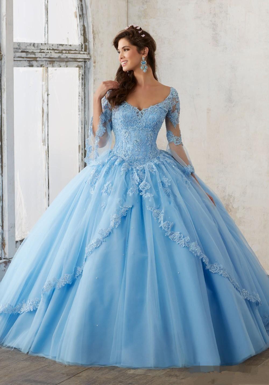 2017 Sweet 16 Dresses Long Sleeve Blush Pink Blue Ball Gowns ...