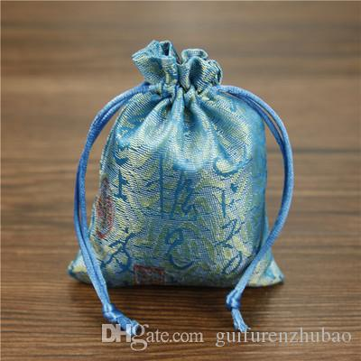 Cheap Chinese Word Silk Brocade Jewelry Pouch Small Drawstring Cloth Gift Packaging Bag Sachet Trinket Coin Pocket Wholesale 50pcs/lot
