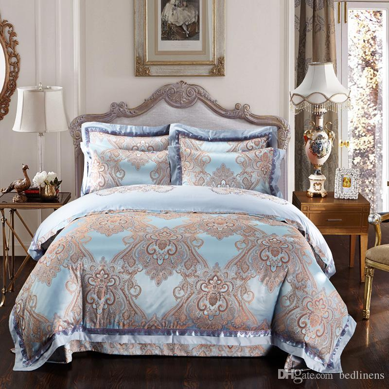 European Style Royal Embroidery Silk Printing Bedding Sets Full Queen King Size Satin Cotton Pillow Shams Bed Sheet Dovet Cover Comforter