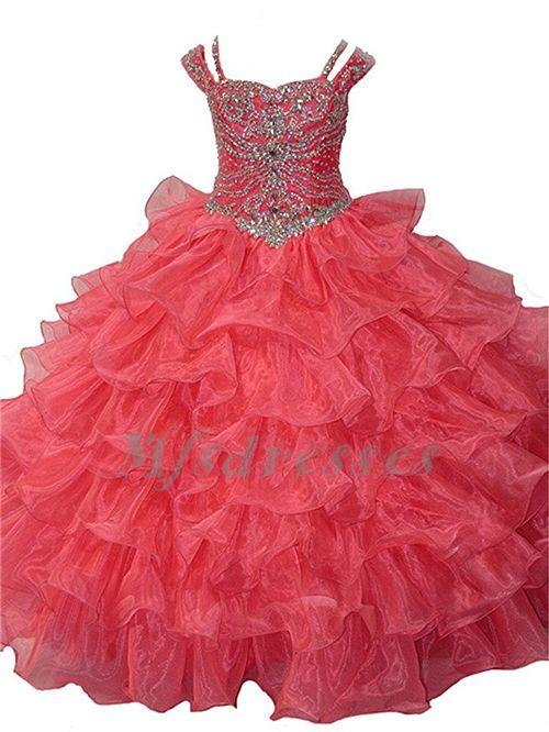 2017 princesa niñas con volantes largos vestidos rebordear niñas desfile de vestidos de baile para niños niñas vestidos de fiesta de cumpleaños
