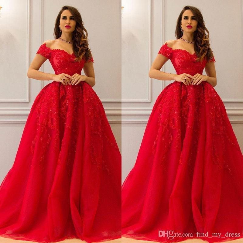 Querida Red Ball Gown Vestidos De Casamento Apliques Ocasião Especial Vestidos de Noiva Custom Made Manga Curta Tule Venda Quente Elegante