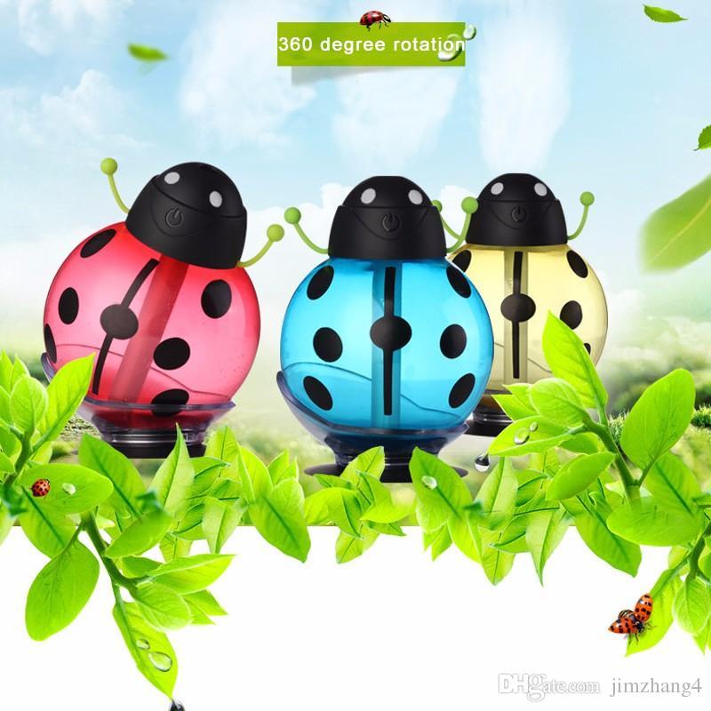 GX02-12, petite coccinelle voiture usb humidificateur incubateur diffuseur led mini air humidificateur diffuseur d'air portable eau arôme mist maker