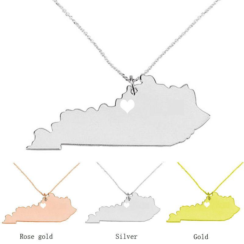 Штат Кентукки ожерелье карта кулон ожерелья США государство подвески карта ожерелье с сердцем ювелирные изделия ручной работы
