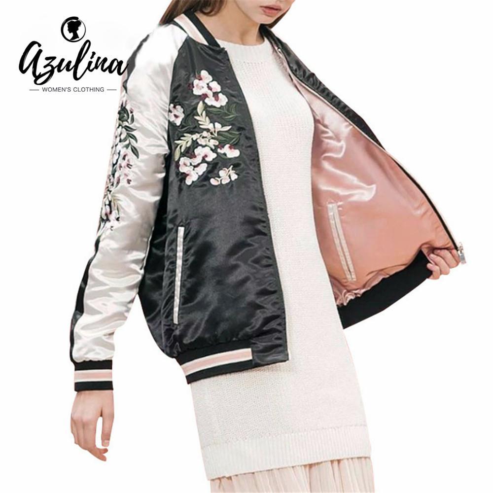 Gros- Azulina réversible manteau rose broderie Blouson Femme Automne Printemps Fleur Baseball vestons Femme Noir Pardessus