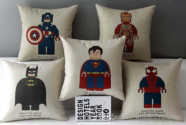 Avengers Super Hero Cushion Cover Superman Iron Man Captain America Spider Man Cushion Covers Decorative Beige Linen Pillow Case