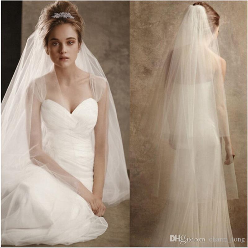 잘라 가장자리 2 레이어와 함께 새로운 우아한 신부 베일 부드러운 tulle 화이트 / 아이보리 웨딩 액세서리 빗과 웨딩 베일