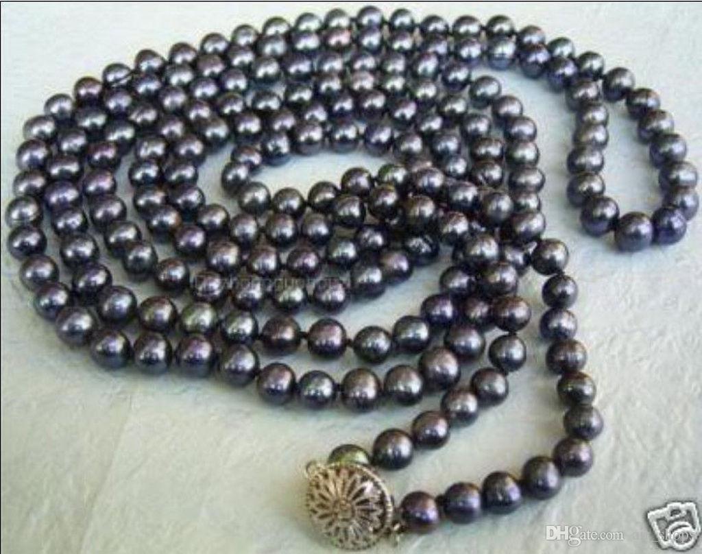 SPEDIZIONE GRATUITA ** Collana lunga coltivata con perle coltivate tahitiane nera lunga 50 pollici