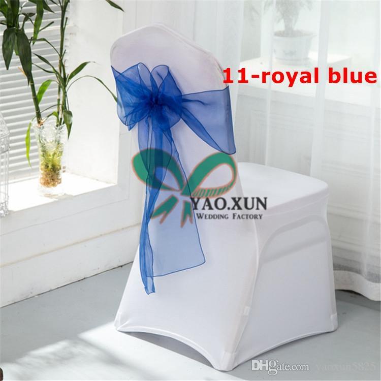 حار بيع الابيض غطاء كرسي دنة مع الأزرق الملكي اللون الأورجانزا وشاح الرئاسة