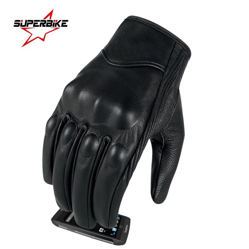 Guantes de moto pantalla táctil dedo gota hombres del envío con el completo de piel de cabra de cuero para hombre en bicicleta completa Guantes dedo mayor de la motocicleta
