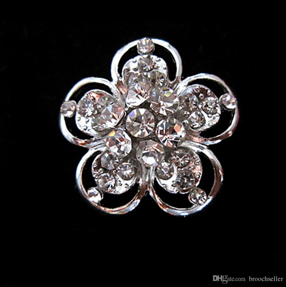 Broche en épingle à fleurs scintillante en cristal avec strass clair et cristal