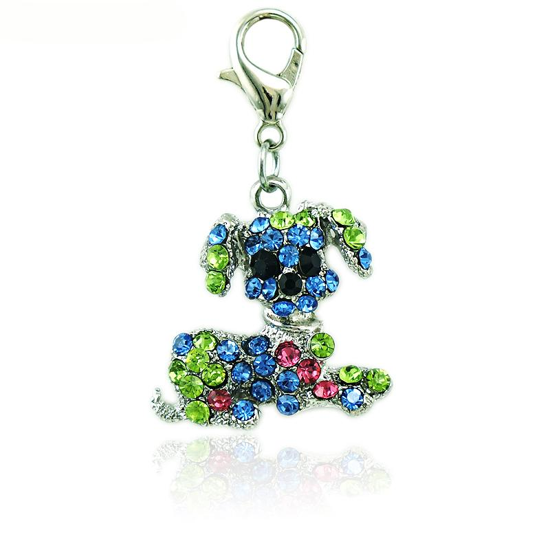 Fashion Floating Charms With Lobster Clasp Rhinestone Big Ear Dog Animals DIY Charms For Jewelry Making Accessories