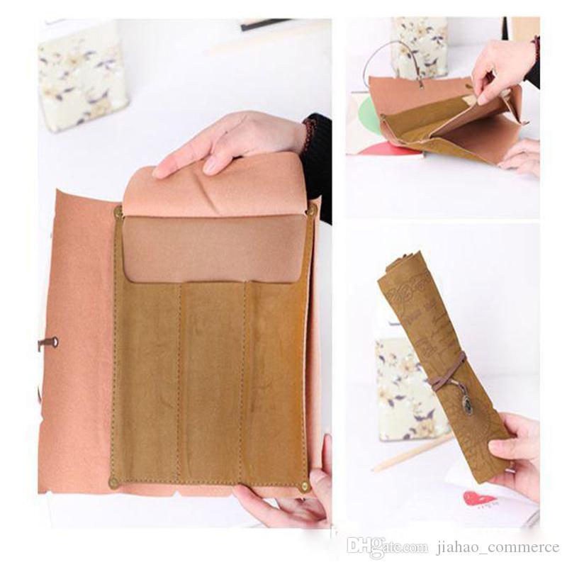 Livraison gratuite, 50pcs / lot 3style PU Vintage carte de pirate rouleau étui à crayons stylo pochette, stylo sac cosmétique sacs à crayons