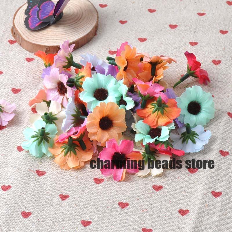 Tête en gros de fleurs de soie artificielles mélangées pour la décoration de mariage DIY 50pcs 31mm CP0079X