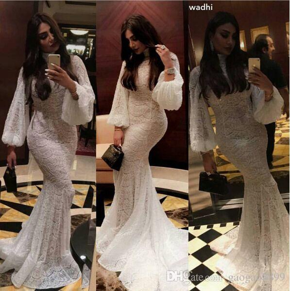 2019 Modeste dentelle Muslim Kaftan à manches longues Mermaid Robes De Mariée Robes à manches longues à manches longues Poisson Robe de ménage bridale Youssef Aljasmi