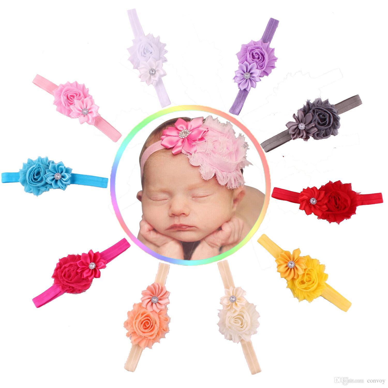 Baby Headbands Flowers Infants Kids Head Bands Shabby Satin Fabric Hairbands Girls Hairbands Rhinestone Head Bands hair accessories KHA111