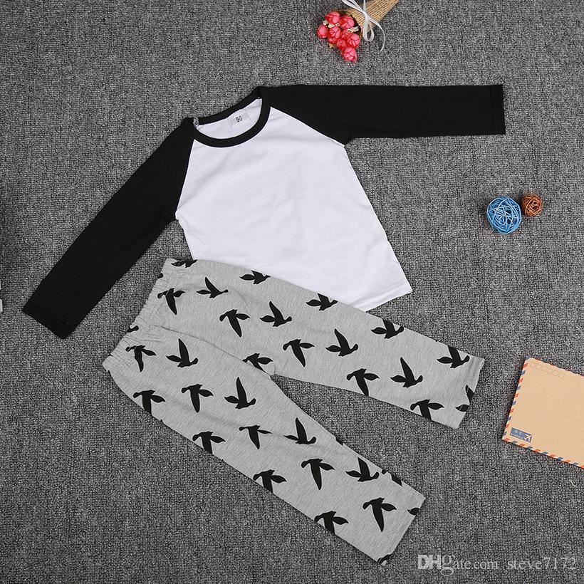 4sets/lot Baby Clothes Sets Boys T-Shirts Grey Pant 2-Pieces Suit Soft Cotton Hot Sale Children Outfits Pajamas Bebe Bodysuits