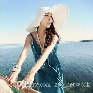 2018 donne di estate cappelli di paglia beatch signore Cappello per il sole tesa larga di paglia Cappelli pieghevole esterno Beach Panama cappelli cappello Chiesa 16colors da scegliere
