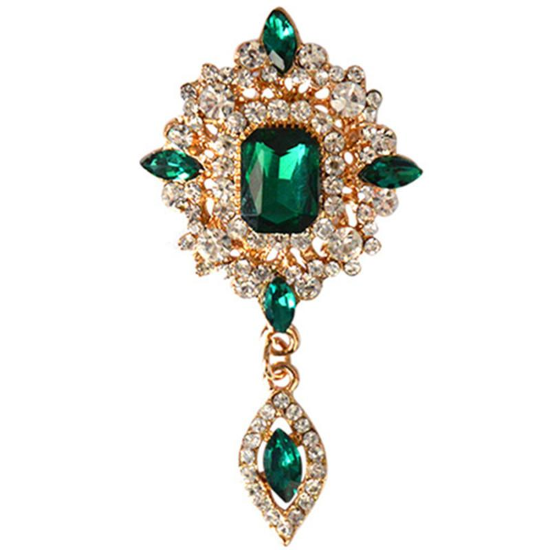 Wholesale- MZC Günstige Grüne Kristallwasser-Tropfen Brosche Smaragd Ahle Frauen Hijab Pins Günstige Cristal Modeschmuck X1631