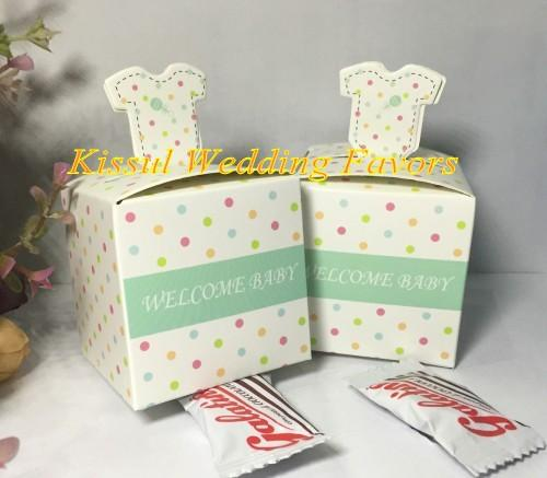 (50Pcs/Lot) Charming polka-dotted layette Baby shower Party Favor for baby birthday gift box and baby souvenirs candy box
