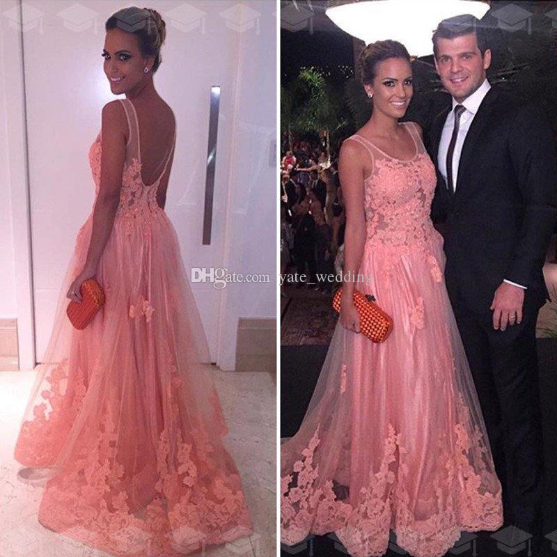 Gorgeous Appliqued Tulle vestidos de noche largos Scoop Illusion correas sin respaldo Blush Pink Vestidos de noche 2018 vestido de fiesta vestidos de baile