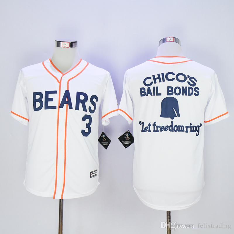 Chicos Bail Bonds Bears Jersey Stitch Shirt Baseball Patch Sewn Size bo Peeps