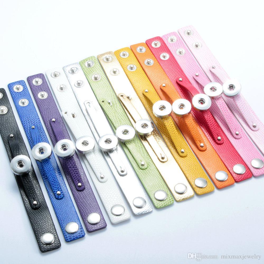 ingrosso assortiti 20PCs moda donna cuoio cuoio zenzero 18mm Snap Chunk Charms bottoni fai da te Bracciali braccialetti nuovi di zecca
