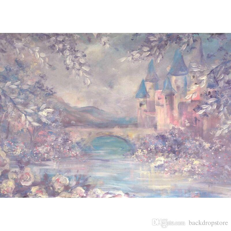 Цифровая печатная Акварели Фон фотографии Wonderland сказка Урожай замок Детские Новорожденный Дети фотостудия Фон для детей