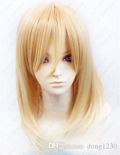 100% Yepyeni Yüksek Kalite Moda Resim tam dantel peruk Titan / Shingeki hiçbir Kyojin Christa Renz 55 cm uzun Sarışın Cosplay Peruk